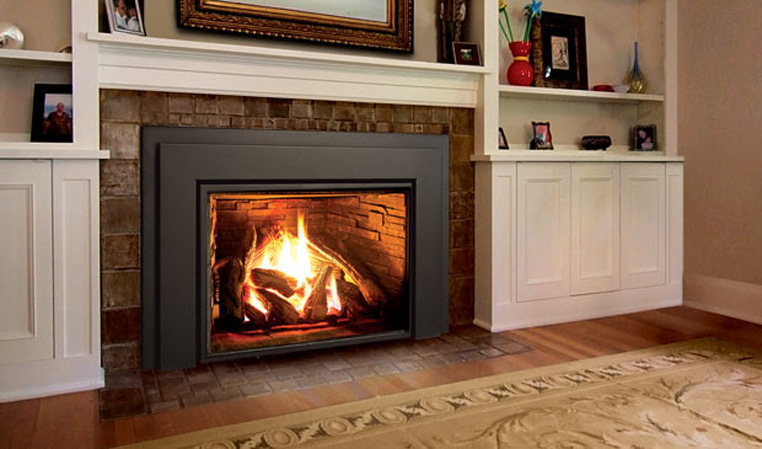Enviro E44 LARGE Gas Insert-The Enviro E44 gas insert is designed to fit into larger fireplaces and is targeted to homes that need high heat output. The simply framed large insert adds a contemporary style to your fireplace while converting it to a p