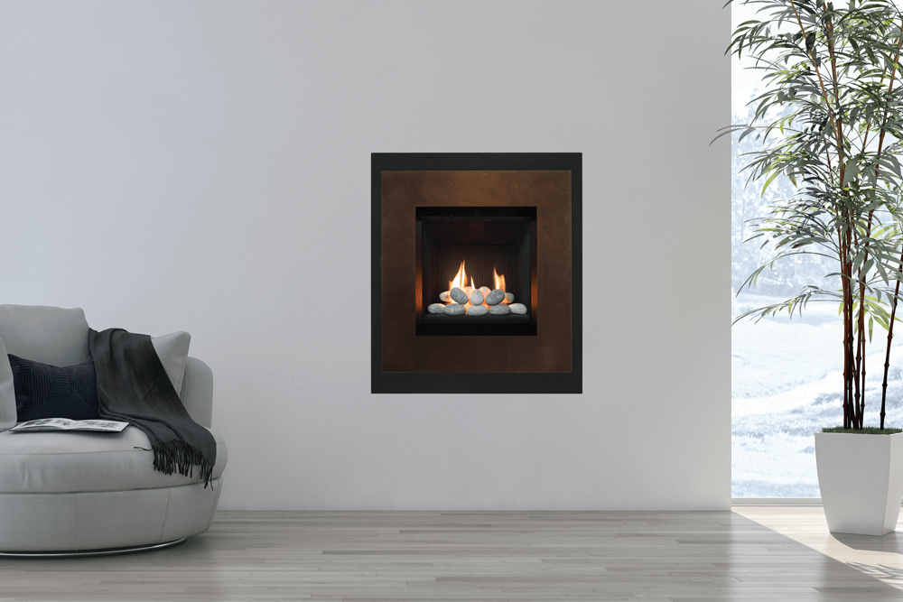 The LEDGE is a small direct vent gas fireplace that mounts in the wall to save floor space. Choice of contemporary fronts with log or rock fire.