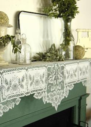 Decorate the mantel for the season with classy mantel scarves. Choose a vintage lacy mantel scarf from our collection for holiday fires and everyday use!