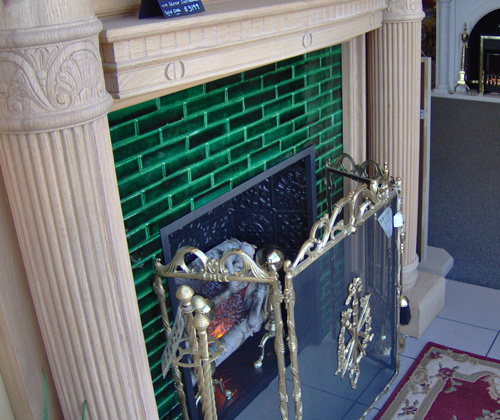 Vintage style EVERGREEN hand painted tiles for refurbishing your fireplace. Quarter tiles measure 1-1/2