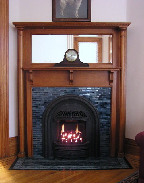 windsor insert in tile fireplace