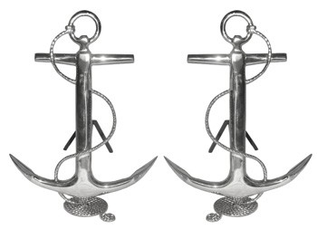 Anchor Andirons - Brass or Chrome