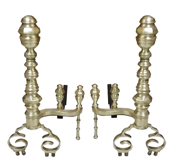 Fabulous LARGE Antebellum Beehive Brass Andirons