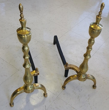 Antique Candlestick Brass Andirons