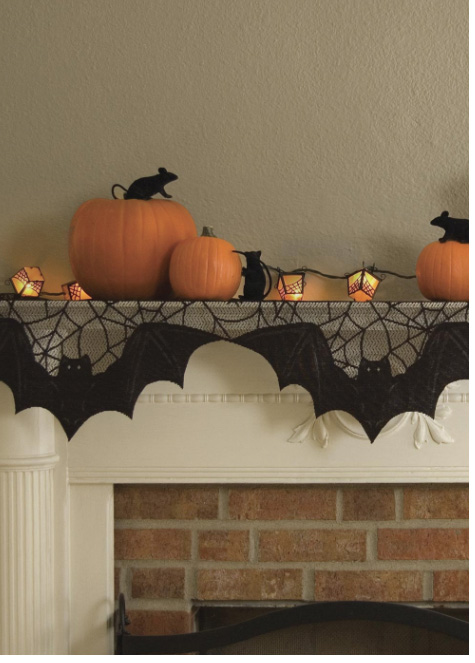 Bat Web Black Lace Mantel Scarf