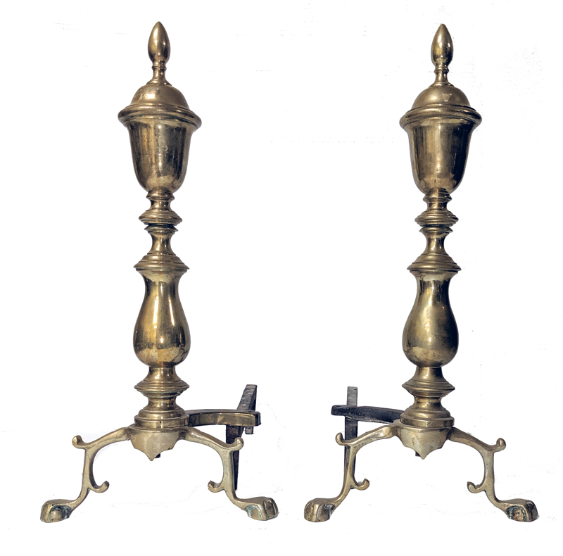 SOLD-Brass Andirons - Antique