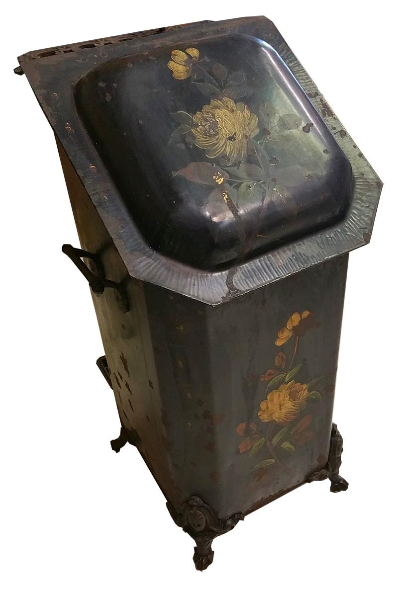 Antique Coal Bin with Rose Motif