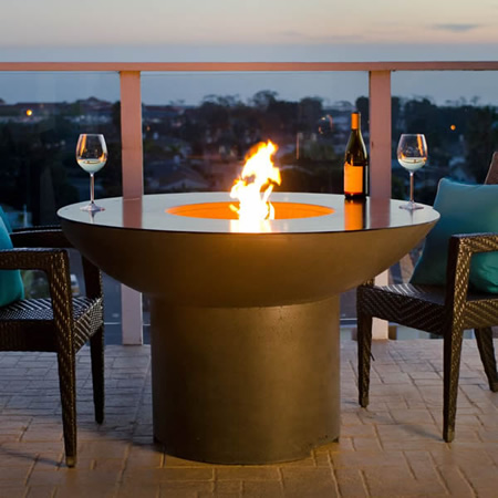 LOTUS Dining Table with Built In Gas Fire Pit