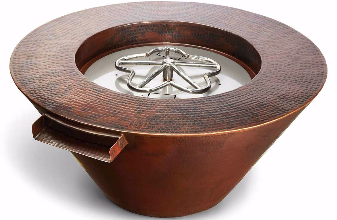 MESA 32in Gas Copper Fire Bowl with Water Feature