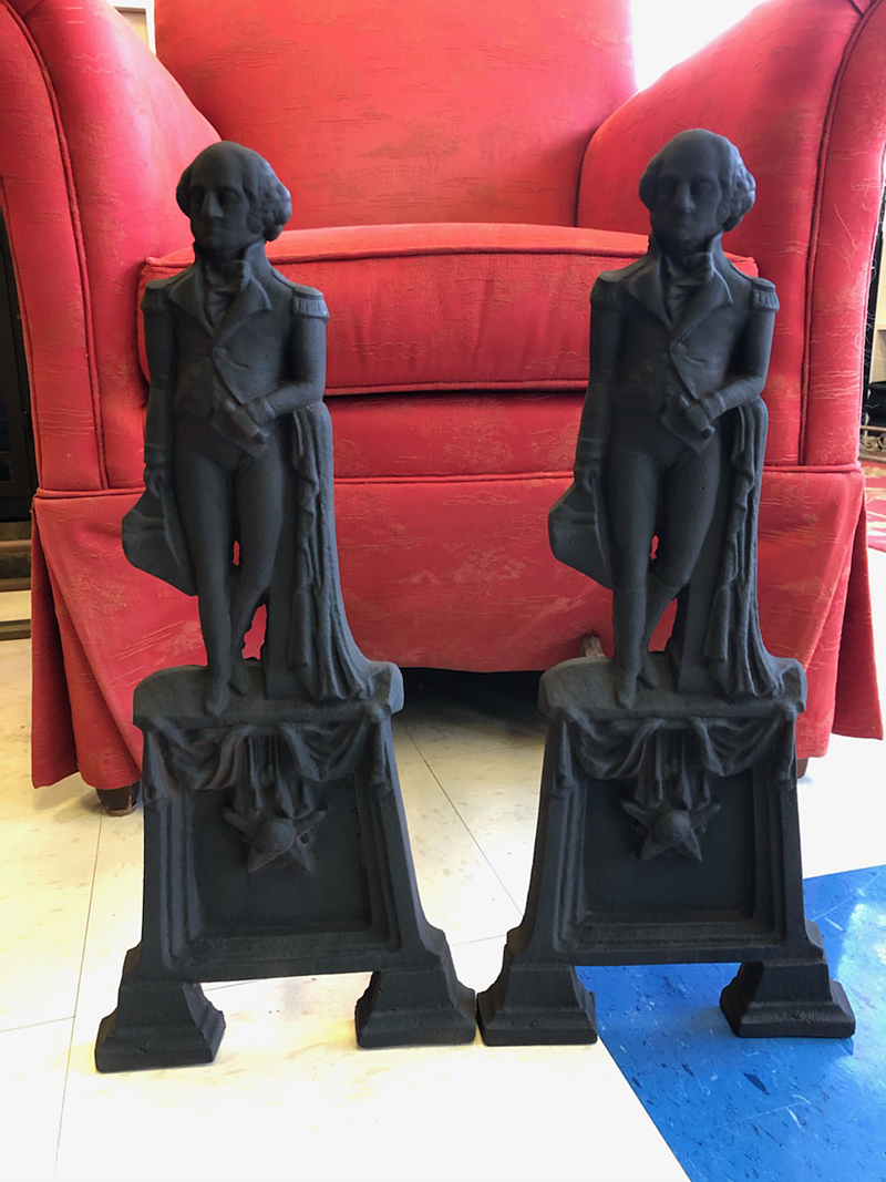 Antique George Washington Andirons from Virginia Metalcrafters