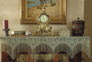 Lace mantel scarf in white or green features scalloped edges with fringe for your Victorian fireplace mantel