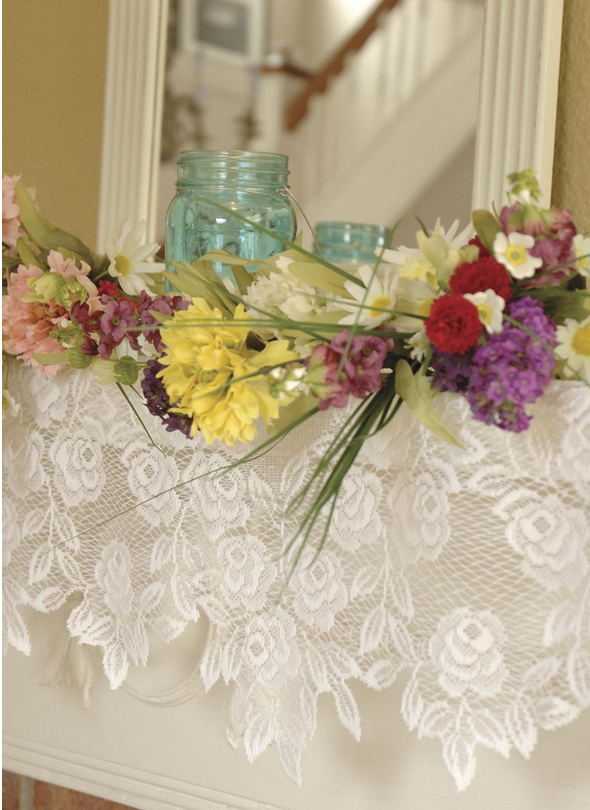 White lace mantel scarf in white or ecru features delicate tea roses to add a formal flair to your fireplace mantel