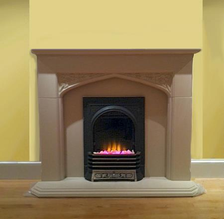 Chedsworth Beige Cast Stone Mantel For Small Fireplaces