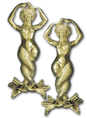 Mermaid Andirons - Brass or Chrome