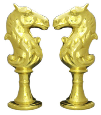 Horse Head Andirons in brass or black and brass finish
