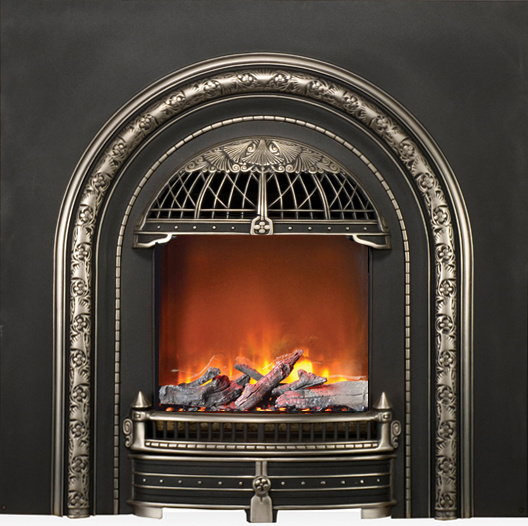 This small electric fireplace can be mounted on the wall
