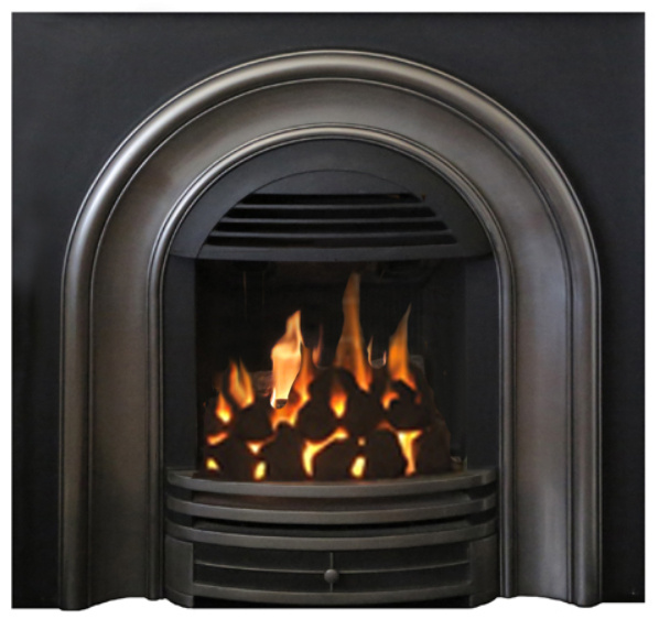 The Classic Arch is a small gas insert with your choice of log