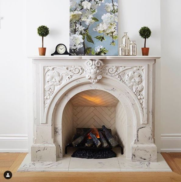 Rochester Arched Victorian Cast Stone Mantel