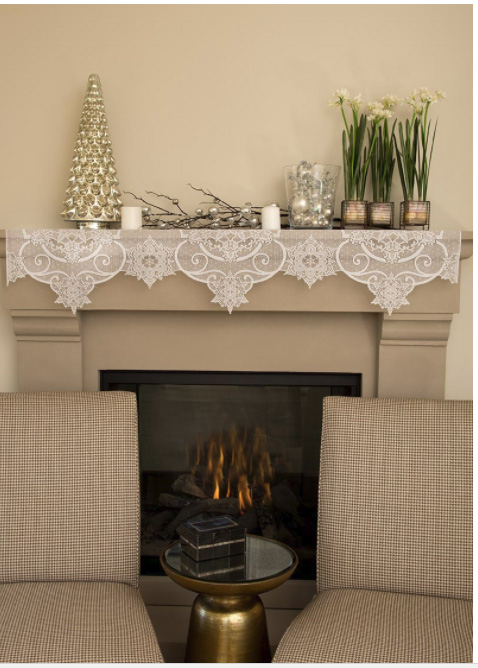 Snow Ornament Mantel Scarf