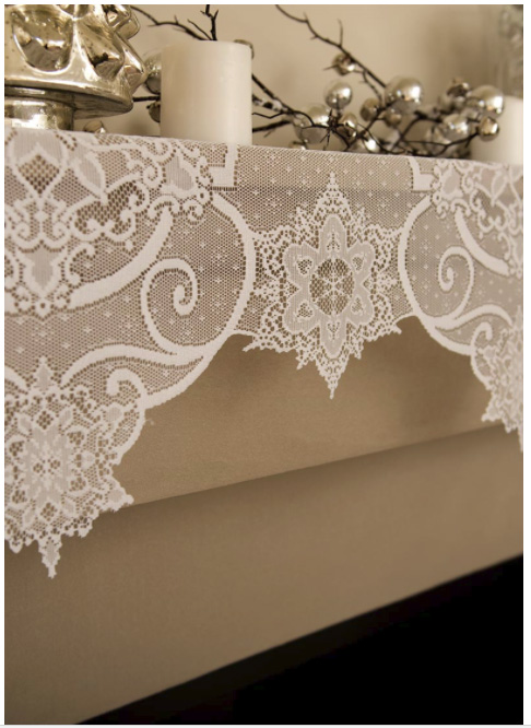 Snow Ornament Mantel Scarf-This great lace piece can be used as a mantel scarf
