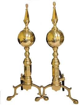 Polished Brass Vintage Andirons