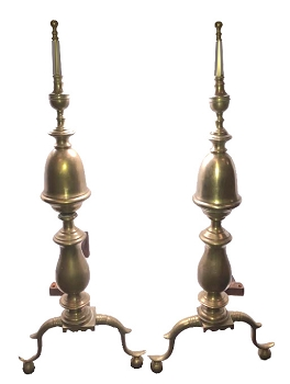 Antique Steeple Top Brass Andirons