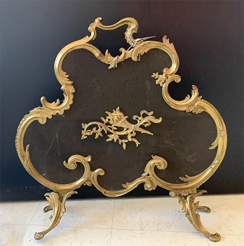 Antique Baroque Brass Fireplace Screen