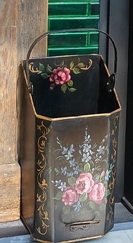 Hand Painted Small Antique Coal Hod