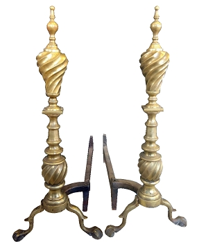 Antique Swirl Brass Andirons