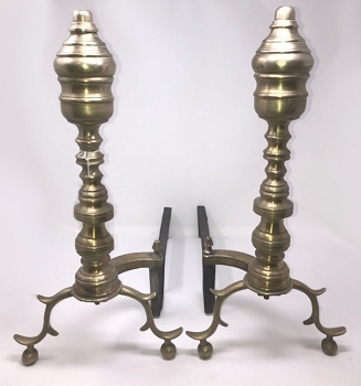 Antique Brass Beehive Andirons
