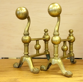 Tiny Solid Brass Antique Andirons
