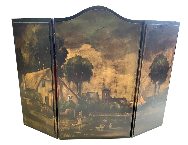 Vintage Hand Painted Wood Fireplace Screen