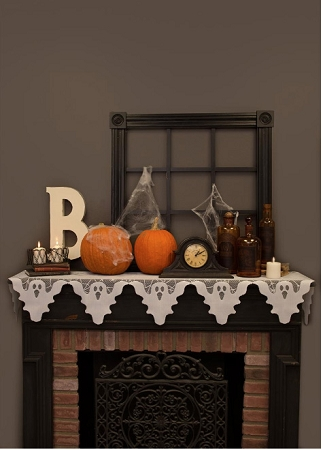 Ghostly Halloween White Lace Mantel Scarf