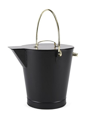 Black Ash Bucket with Brass Accents