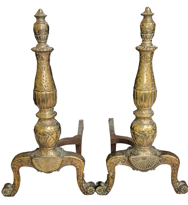Cast Brass Antique Andirons