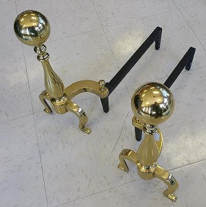 Vintage Brass Ball Andirons