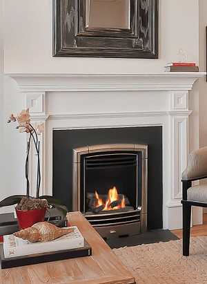 The small BOLERO gas fireplace insert upgrades your coal fireplace into a powerful source of heat