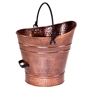 Hammered copper bucket for your fireplace hearth
