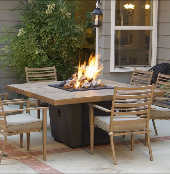Barrel Oak Dining Table with Built In Gas Fire Pit