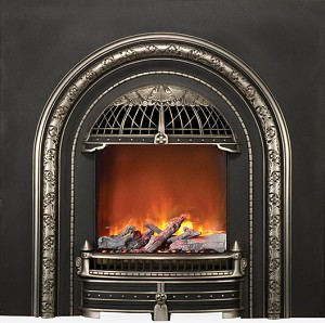The WINDSOR ELECTRIC INSERT combines modern electric fireplace technology with a Victorian style cast iron front for true vintage appeal