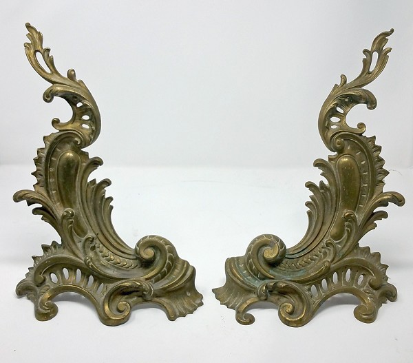 Antique Rococo Brass Andirons
