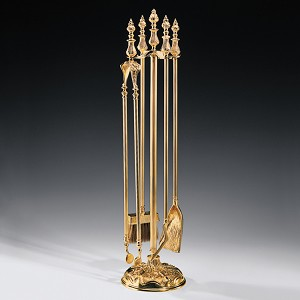 Urn Finial Brass Coal Fireset
